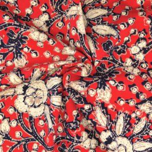 Batikstoff Blumen rot 2