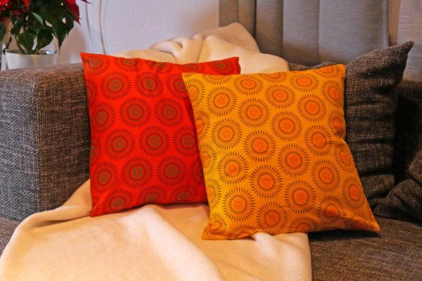Kissenbezug mit Shweshwe Stoff - Fireworks Gelb & Orange
